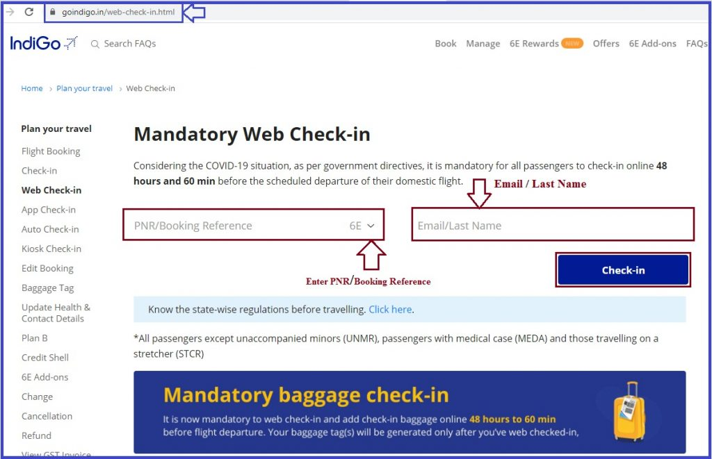 Indigo Web Check in - Indigo Airlines